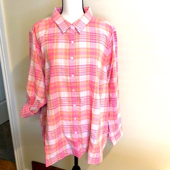 New women's pink plaid top 2X, Lands End